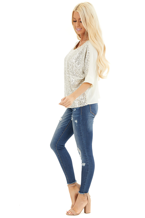 Cream Dolman Short Sleeve Top with Silver Sequins side full body