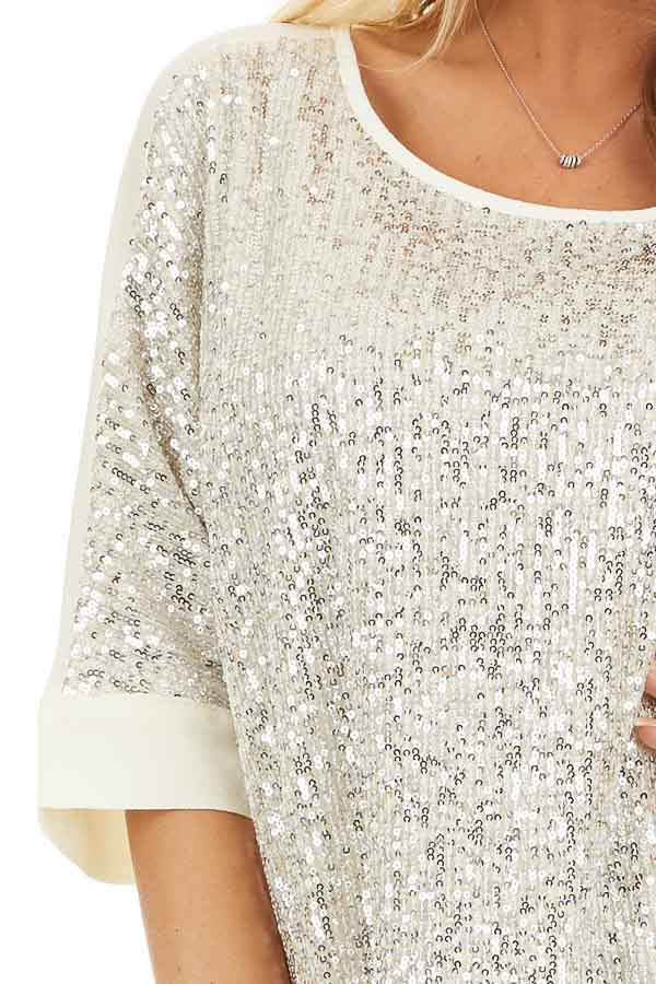 Cream Dolman Short Sleeve Top with Silver Sequins detail