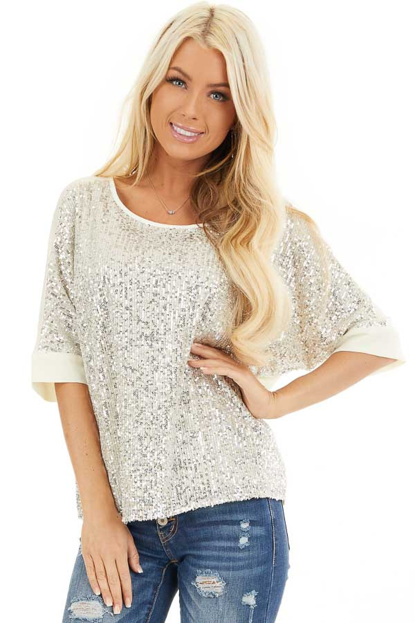 Cream Dolman Short Sleeve Top with Silver Sequins front close up