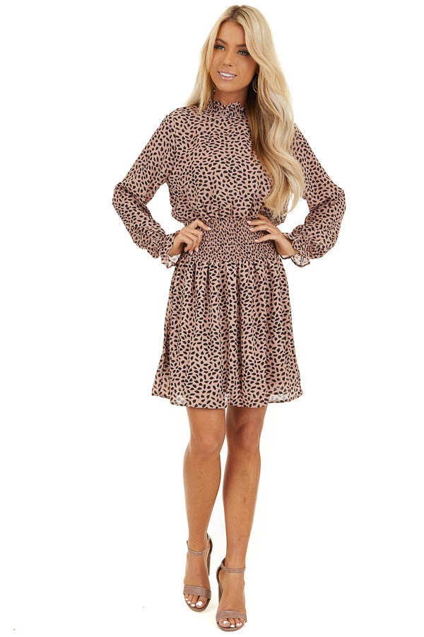 Blush Pink Long Sleeve Chiffon Dress with Smocked Details front full body