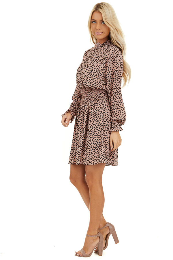 Blush Pink Long Sleeve Chiffon Dress with Smocked Details side full body