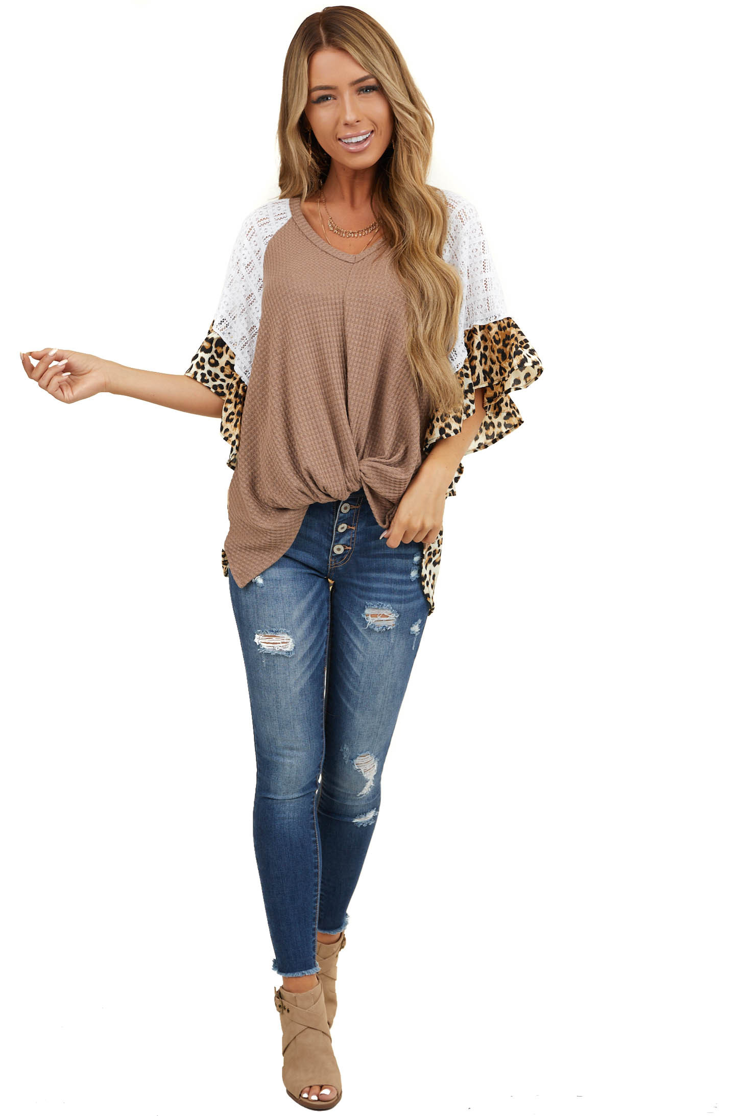 Mocha and Ivory Top with Leopard Print Contrast and Lace