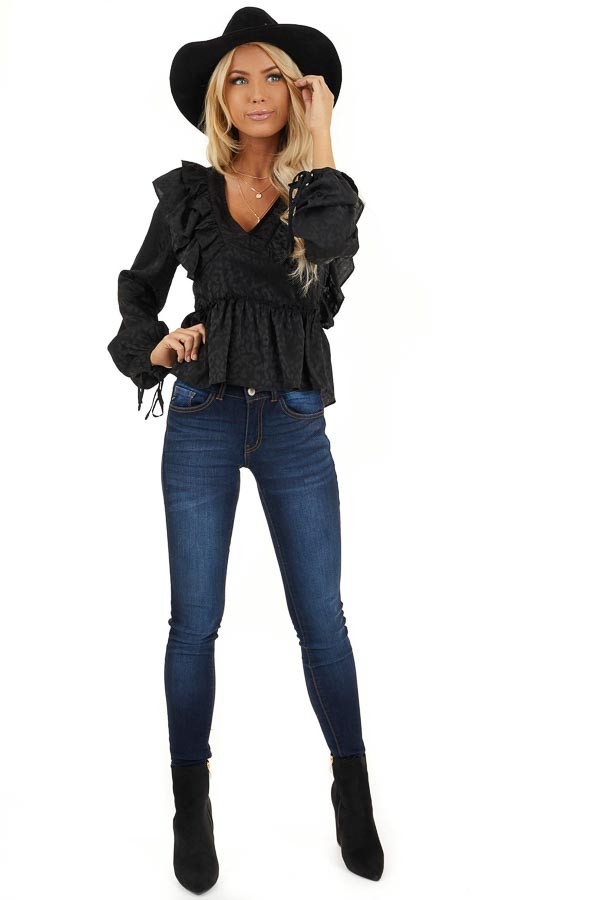 Black Animal Print Silky Peplum Top with Ruffle Details front full body