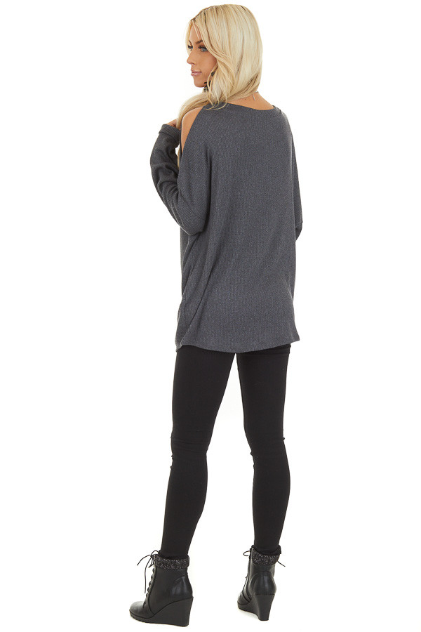 Charcoal Cold Shoulder Long Sleeve Top with Front Twist back full body