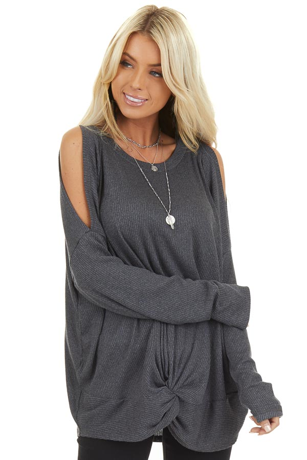 Charcoal Cold Shoulder Long Sleeve Top with Front Twist front full body