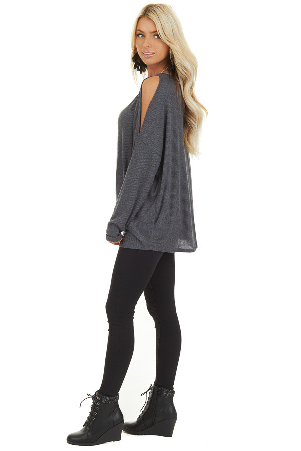 Charcoal Cold Shoulder Long Sleeve Top with Front Twist side full body