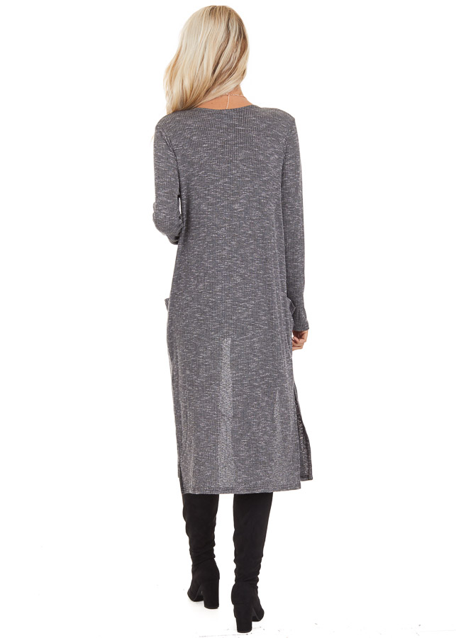 Charcoal Speckled Long Cardigan with Pockets and Side Slits back full body