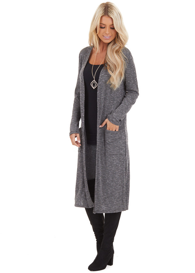 Charcoal Speckled Long Cardigan with Pockets and Side Slits side full body