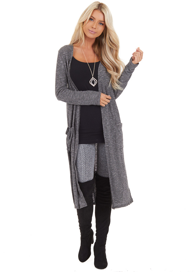 Charcoal Speckled Long Cardigan with Pockets and Side Slits front full body