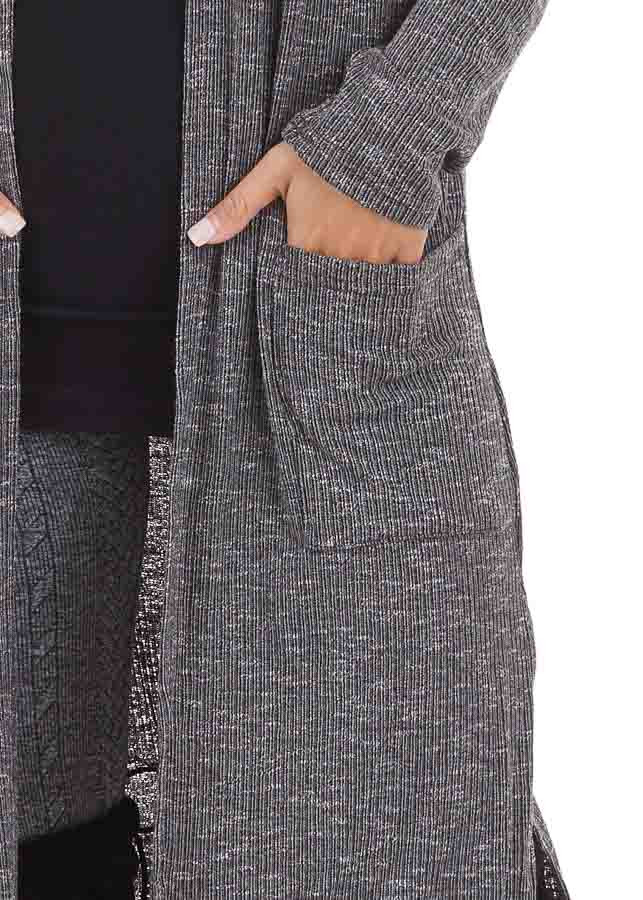 Charcoal Speckled Long Cardigan with Pockets and Side Slits detail