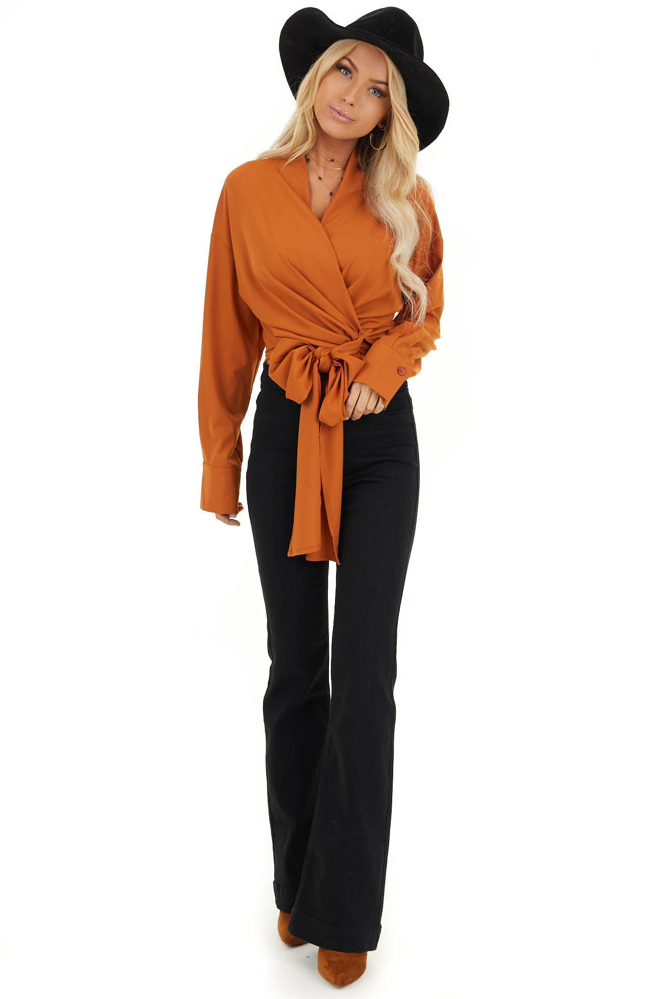 Tawny Wrap Top with Long Sleeves front full body