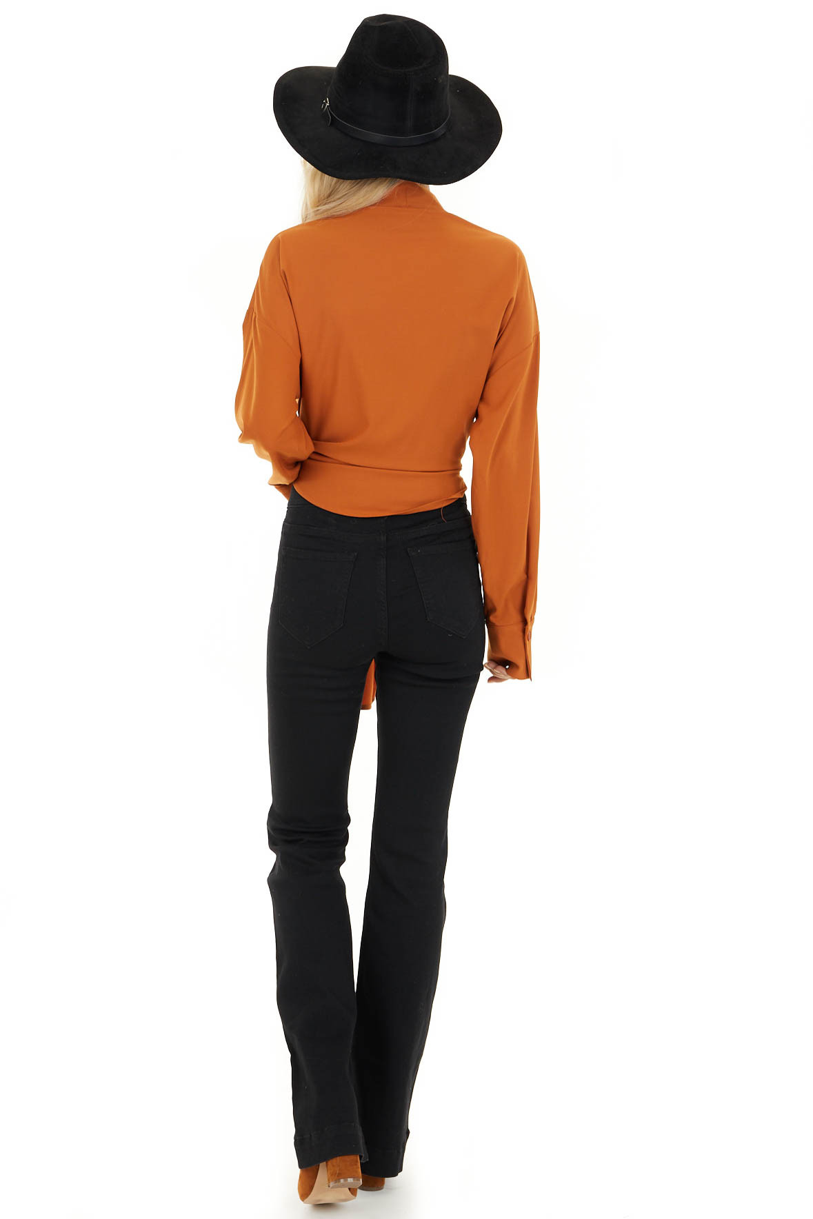 Tawny Wrap Top with Long Sleeves back full body