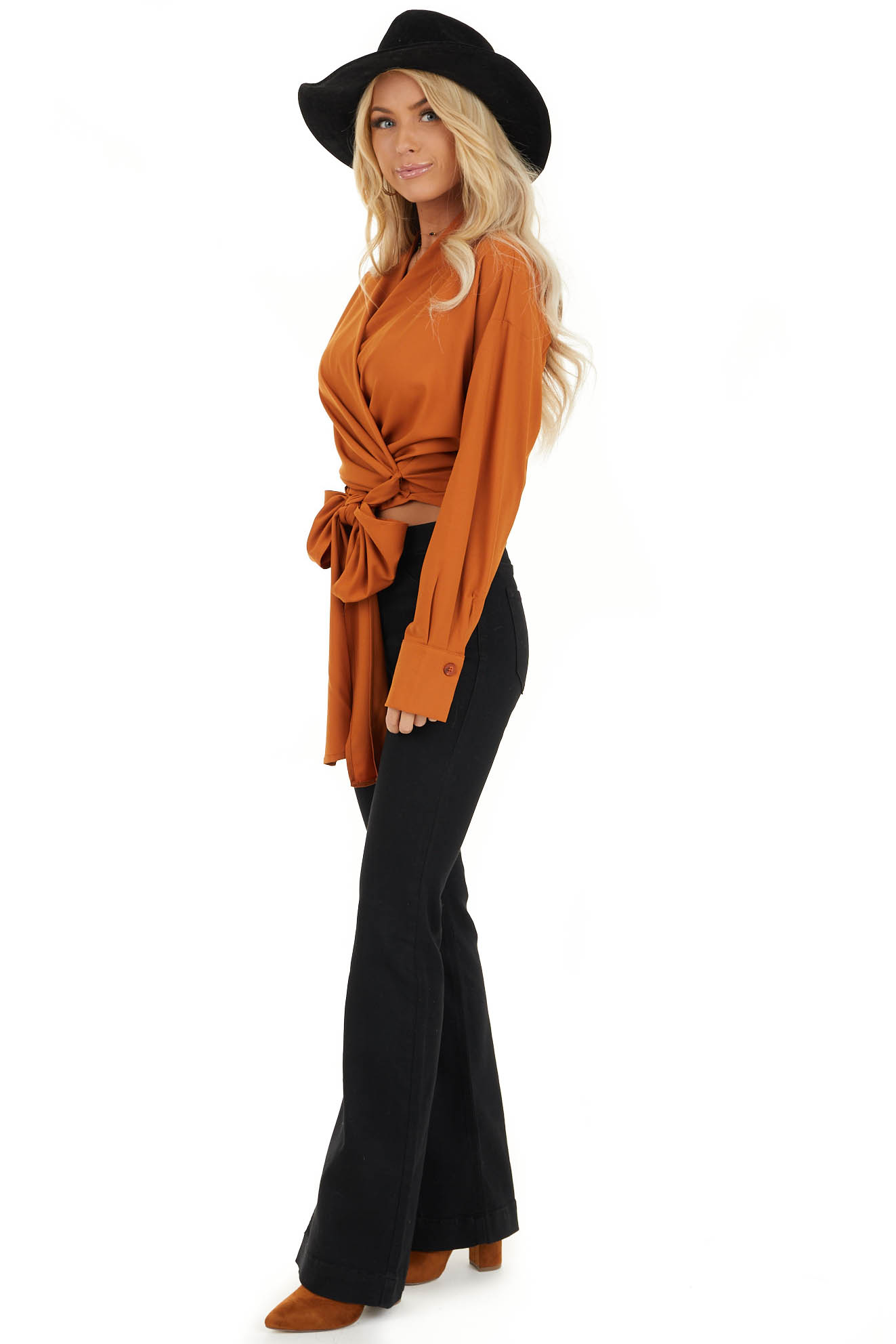 Tawny Wrap Top with Long Sleeves side full body