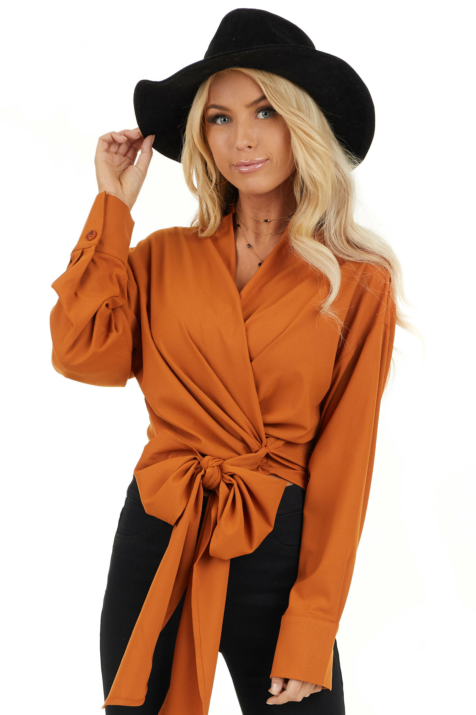 Tawny Wrap Top with Long Sleeves front close up