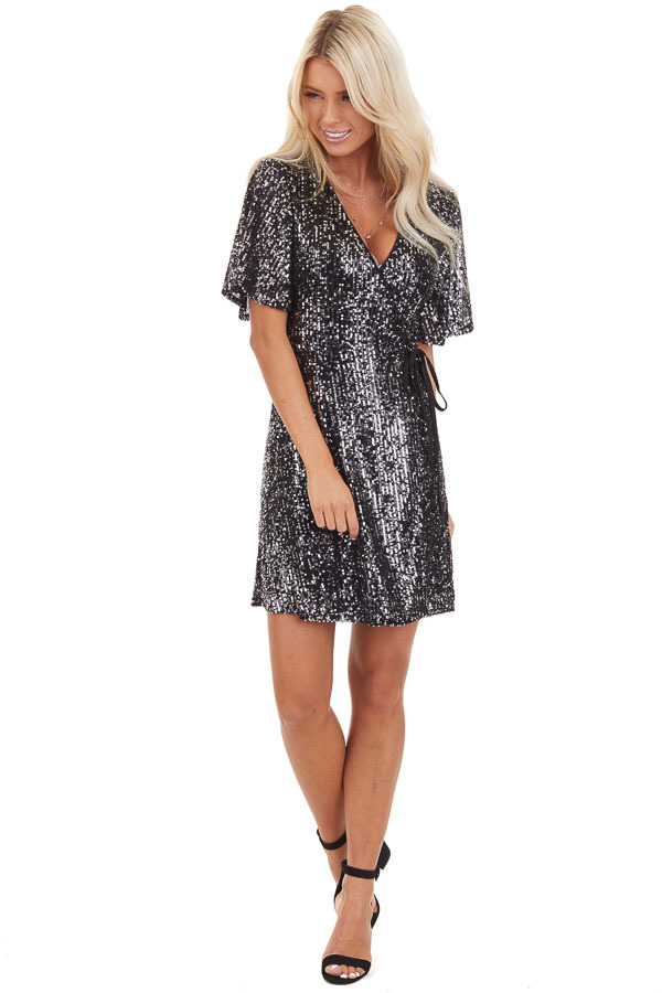 Black Sequin Wrap Mini Short Sleeve Dress with Front Tie front full body