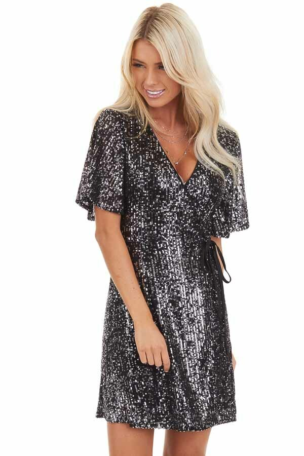 Black Sequin Wrap Mini Short Sleeve Dress with Front Tie front close up