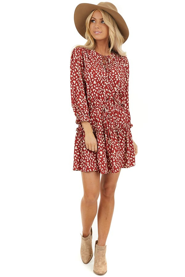 Cherry Red Leopard Print Mini Dress with Drawstring Waist front full body