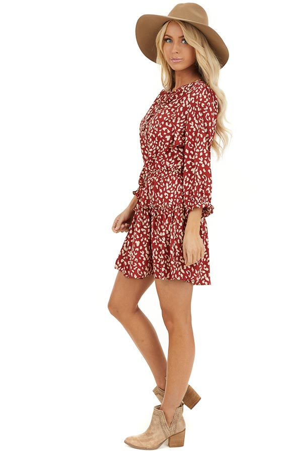 Cherry Red Leopard Print Mini Dress with Drawstring Waist side full body