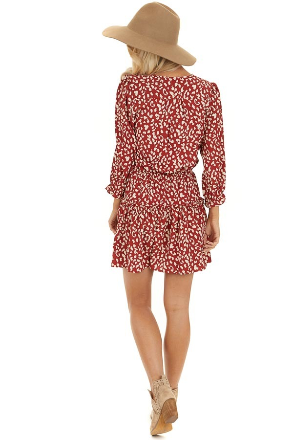 Cherry Red Leopard Print Mini Dress with Drawstring Waist back full body