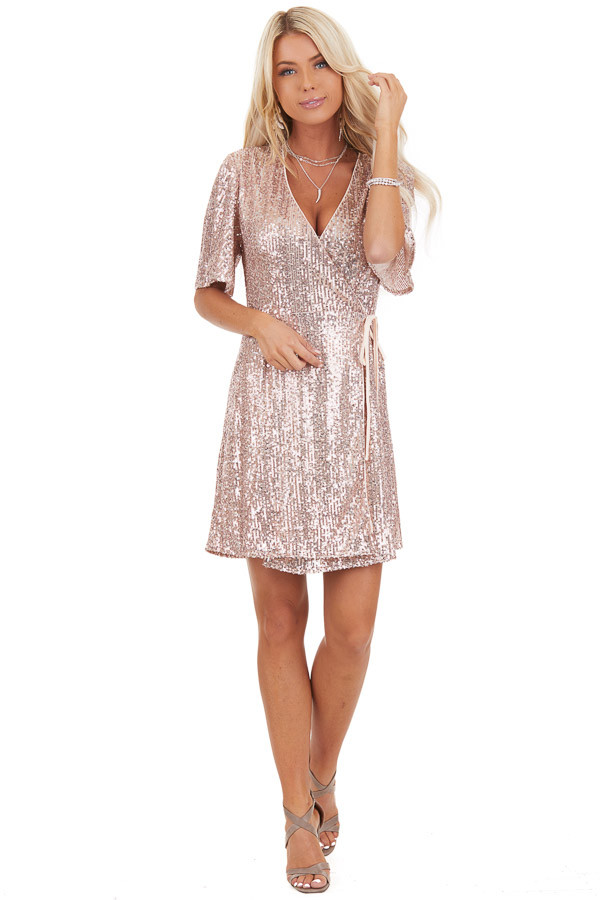 Blush Sequin Wrap Mini Short Sleeve Dress with Front Tie front full body