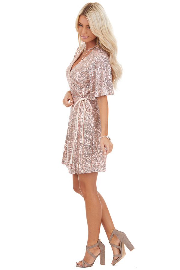 Blush Sequin Wrap Mini Short Sleeve Dress with Front Tie side full body