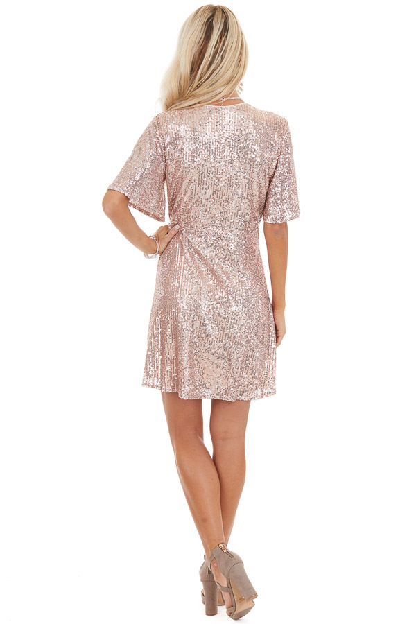 Blush Sequin Wrap Mini Short Sleeve Dress with Front Tie back full body