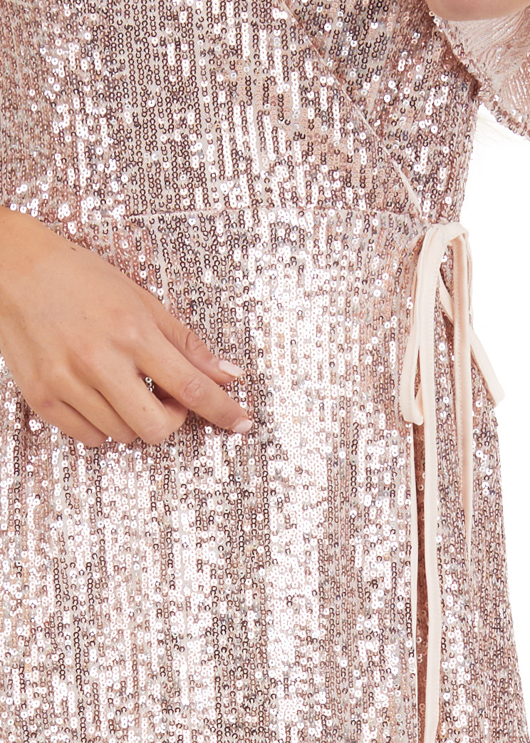 Blush Sequin Wrap Mini Short Sleeve Dress with Front Tie detail