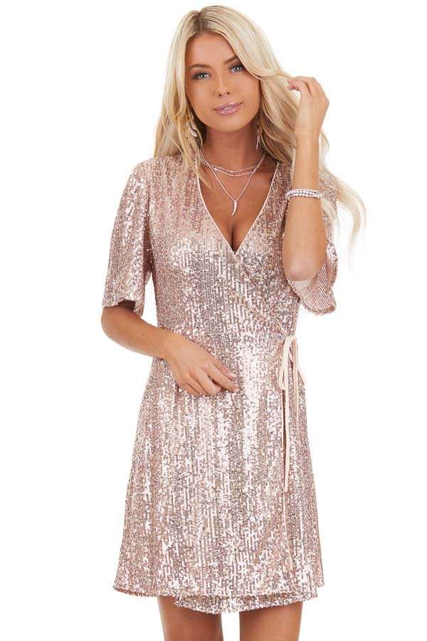 Blush Sequin Wrap Mini Short Sleeve Dress with Front Tie front close up
