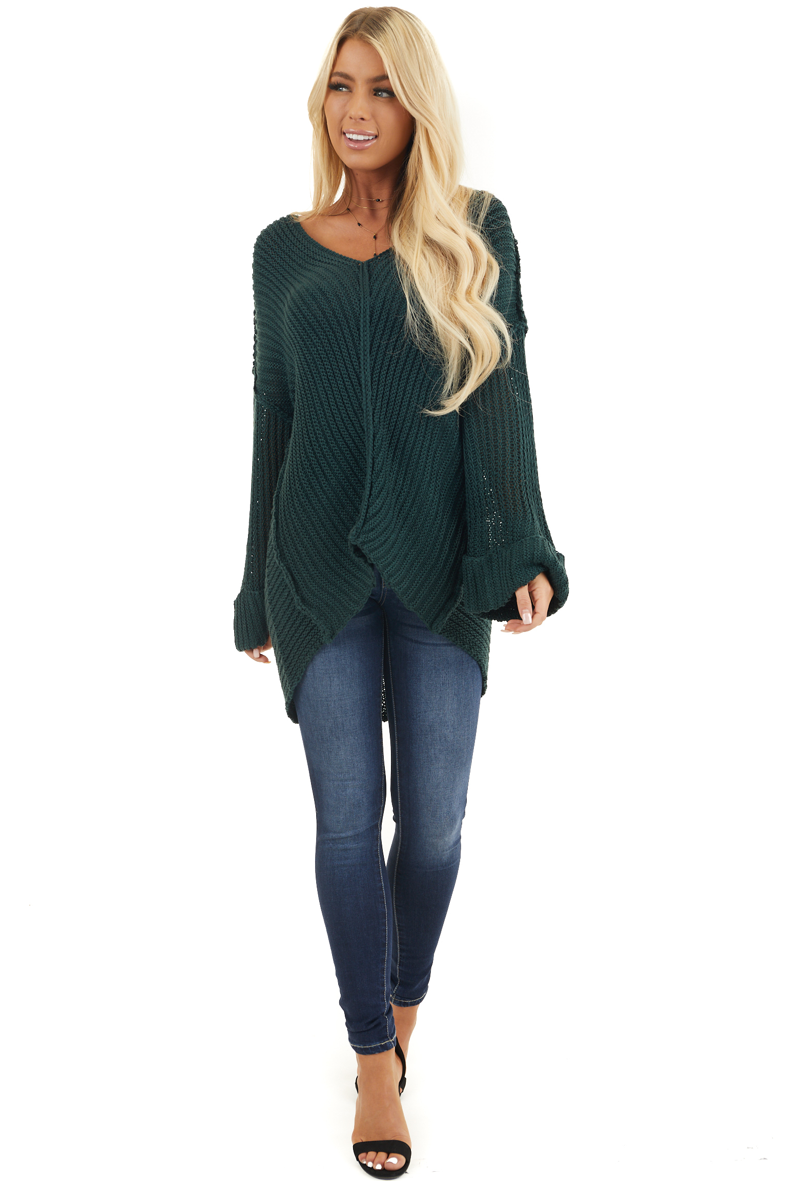 Pine Green High Low Long Sleeve Sweater with V Neckline