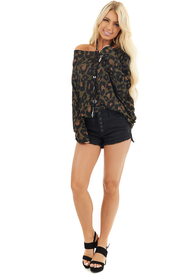 Olive Green and Black Leopard Print Off the Shoulder Top front full body