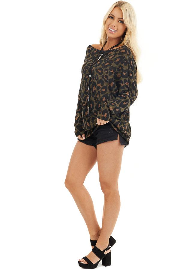 Olive Green and Black Leopard Print Off the Shoulder Top side full body