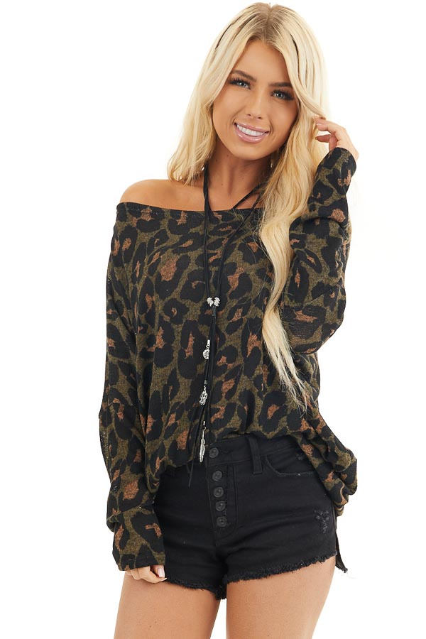 Olive Green and Black Leopard Print Off the Shoulder Top front close up