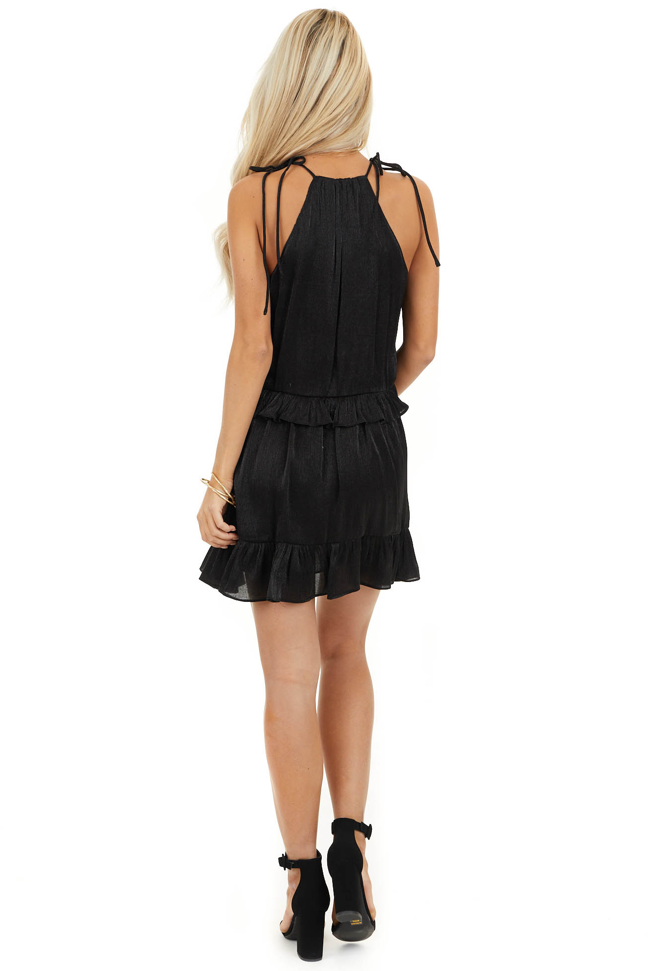 Black Sheen Sleeveless Mini Dress with High Neckline and Tie back full body