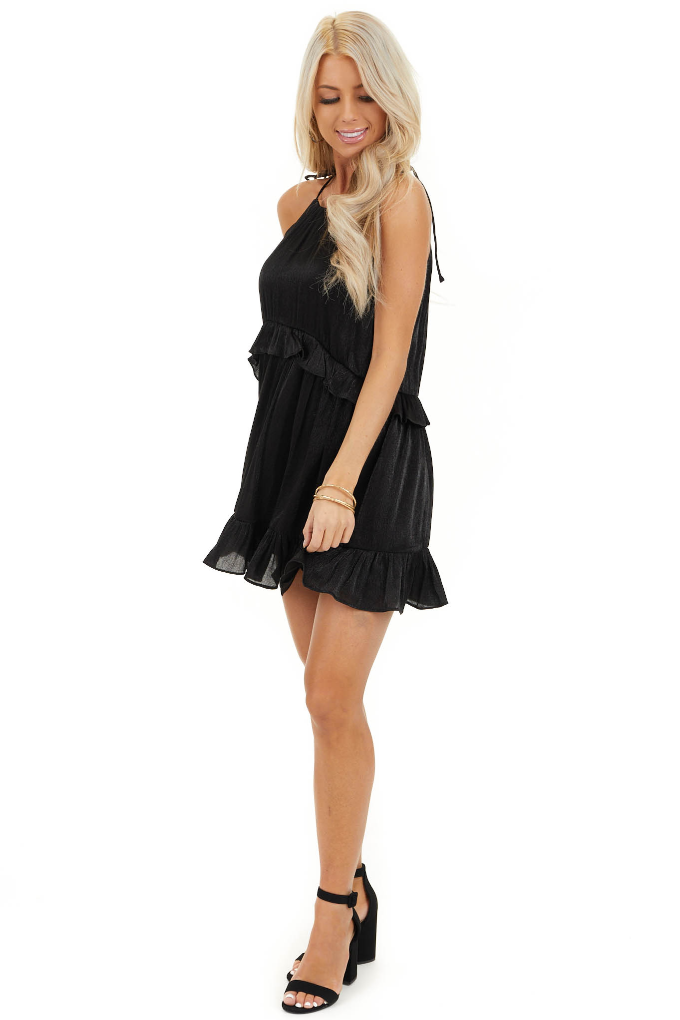 Black Sheen Sleeveless Mini Dress with High Neckline and Tie side full body