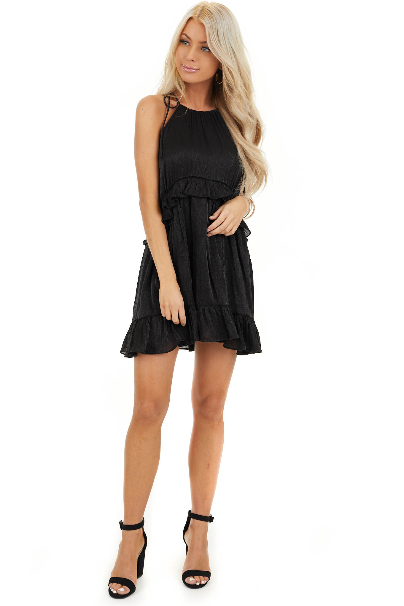 Black Sheen Sleeveless Mini Dress with High Neckline and Tie front full body