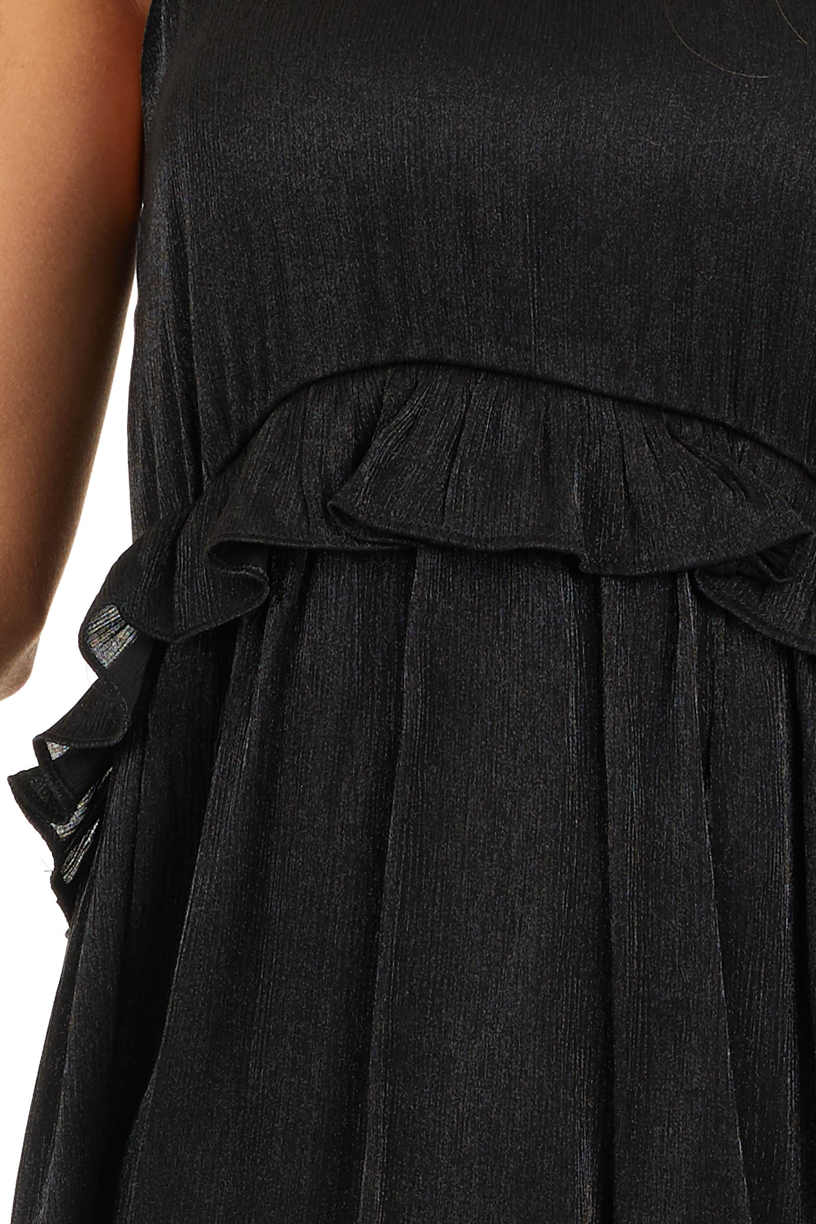 Black Sheen Sleeveless Mini Dress with High Neckline and Tie detail