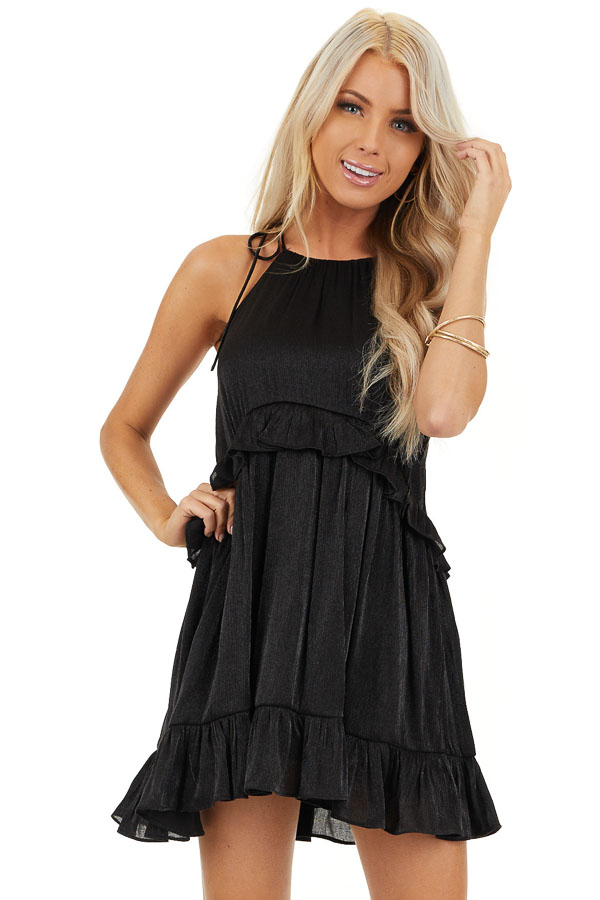 Black Sheen Sleeveless Mini Dress with High Neckline and Tie front close up