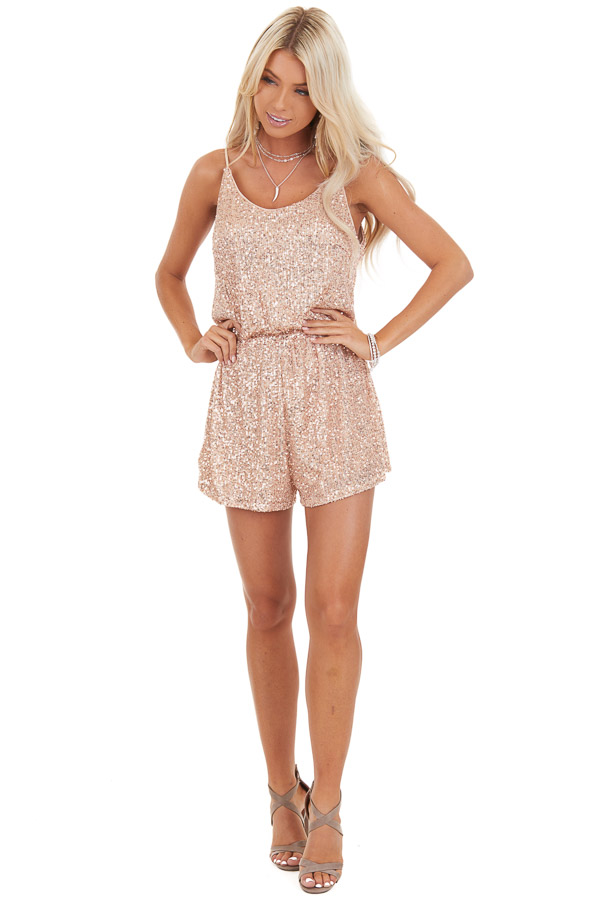 Rose Gold Sequin Sleeveless Romper with Back Keyhole Closure front full body
