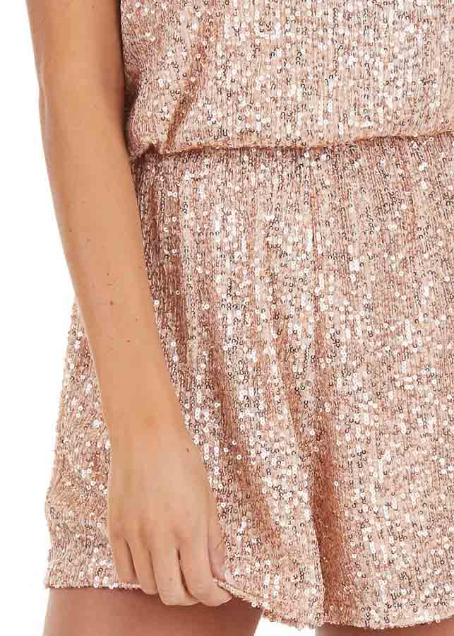 Rose Gold Sequin Sleeveless Romper with Back Keyhole Closure detail