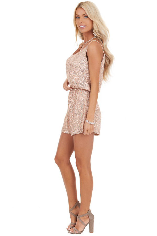 Rose Gold Sequin Sleeveless Romper with Back Keyhole Closure side full body