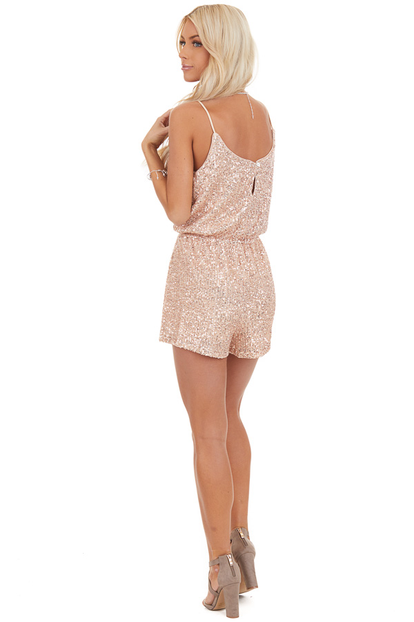 Rose Gold Sequin Sleeveless Romper with Back Keyhole Closure back full body