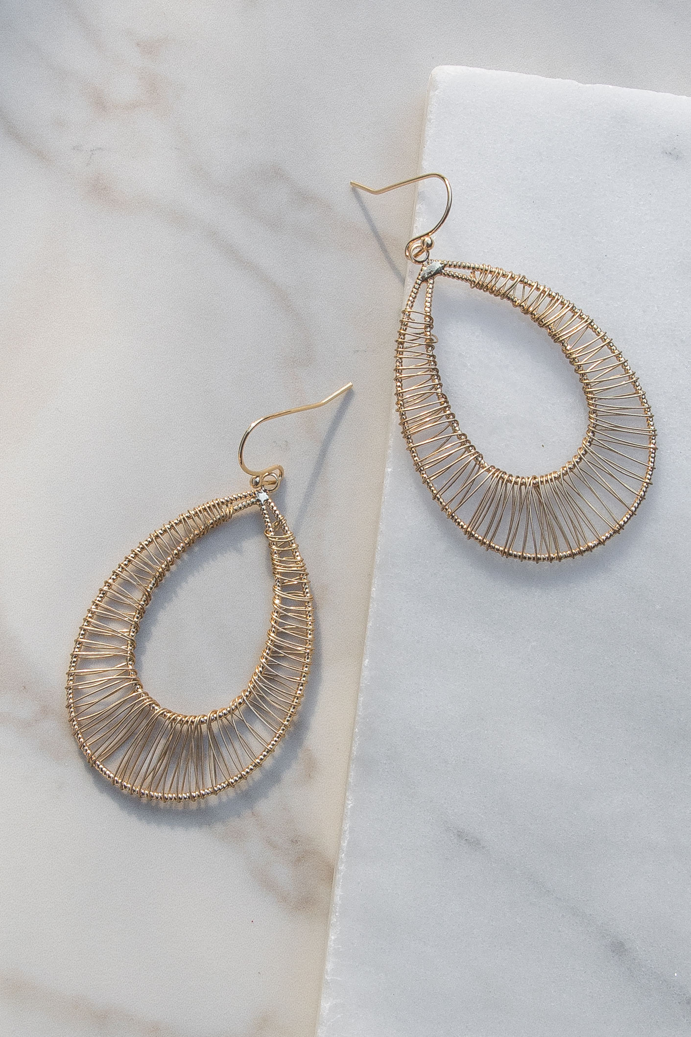Gold Teardrop Earrings with Wire Wrapped Details