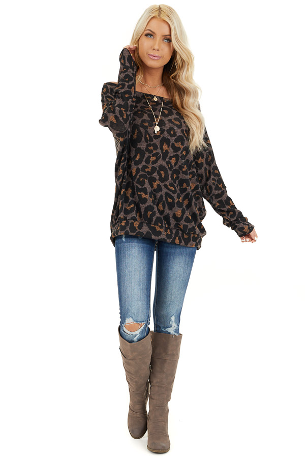 Mocha Leopard Print Off Shoulder Top with Dolman Sleeves front full body