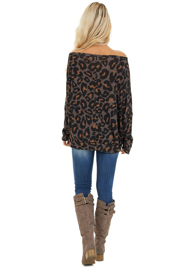 Mocha Leopard Print Off Shoulder Top with Dolman Sleeves back full body