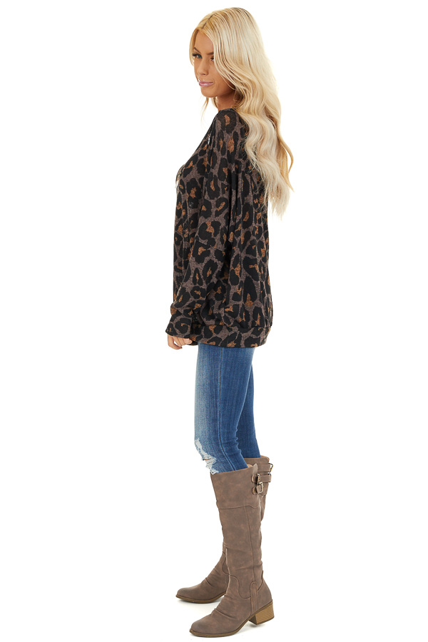 Mocha Leopard Print Off Shoulder Top with Dolman Sleeves side full body