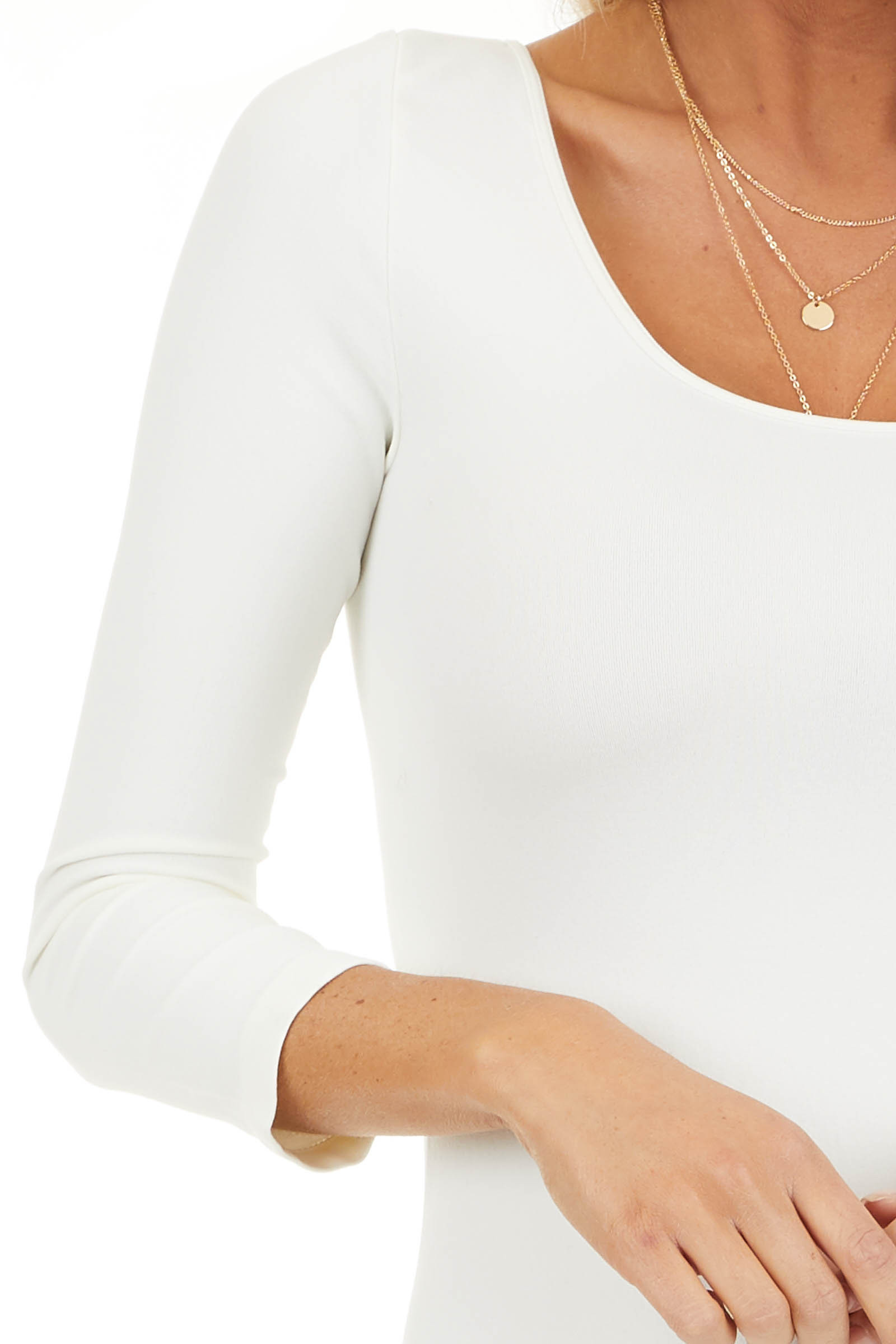 Ivory 3/4 Sleeve Scoop Neck Dress detail