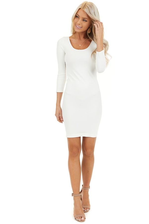 Ivory 3/4 Sleeve Scoop Neck Dress front full body