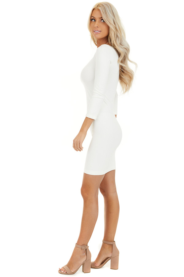 Ivory 3/4 Sleeve Scoop Neck Dress side full body