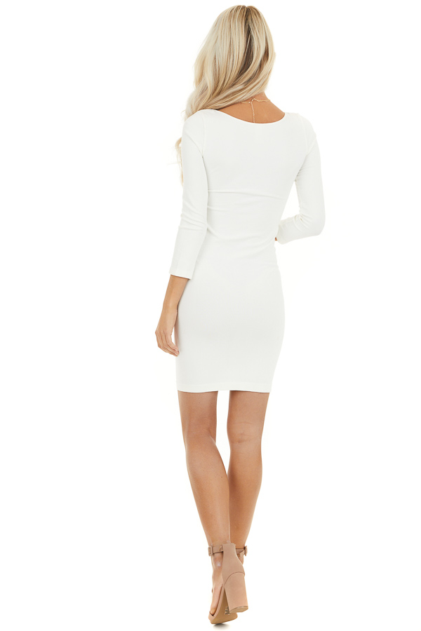 Ivory 3/4 Sleeve Scoop Neck Dress back full body
