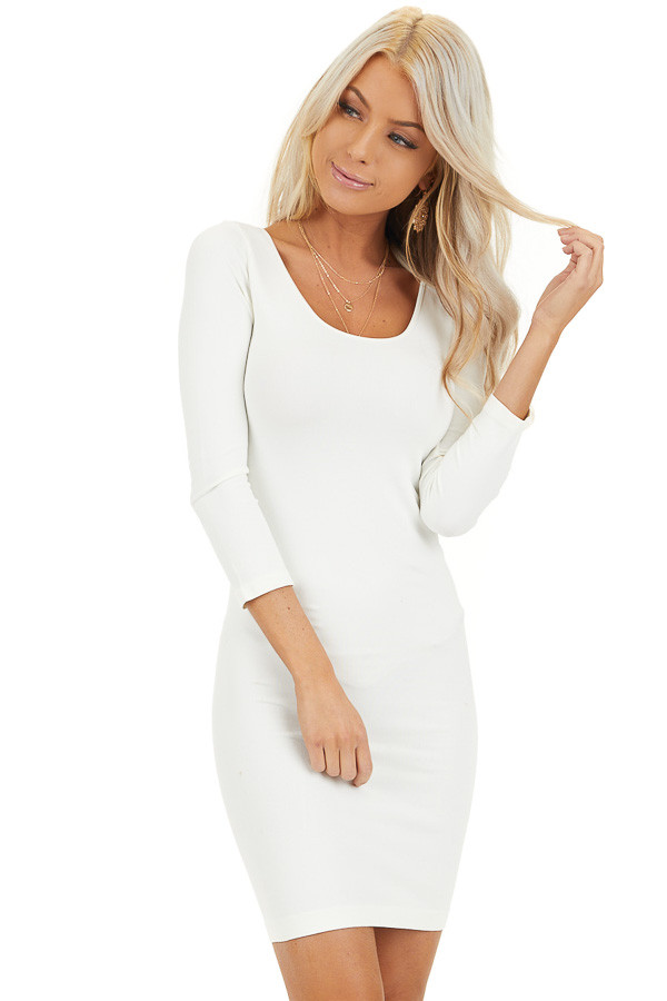 Ivory 3/4 Sleeve Scoop Neck Dress front close up